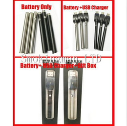 Wholesale Gift Button Box - DHL Black SS Bud manual battery 510 thread 280mah capacity USB gift box Evod button battery oil o pen vape e cigarette ce3 battery