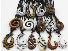 Wholesale Mixed Fishing Hooks - 2017 Mixed Hawaiian Jewelry Imitation Bone Carved NZ Maori Fish Hook Pendant Necklace Choker Amulet Gift lady necklace man