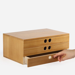 Wholesale Wooden Jewelry Boxes Drawers - A 4 paper tool cabinet case Wooden desk storage drawer debris cosmetic storage box bin jewelry office Creative gift Home