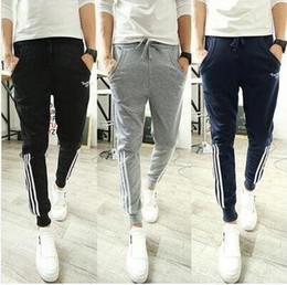 Wholesale Fitness Body Building - Mens Fashion Joggers Pants 2016 Brand Striped Trousers Men fitness body building Sport Pants Casual Solid Pants Jogging Sweatpants Jogger