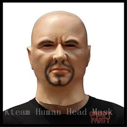 Wholesale wigs for halloween costumes - Top Grade Artificial Man Latex Mask Hood Overhead Wigs beard Human Skin Disguise Prank Halloween makeup costume Realistic silicone Face Mask