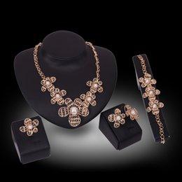 Wholesale Nacklace Set Gold - 2016 Bohemian Style Alloy Gold-color Jewelry Set Flower Nacklace Set Rhinestone Ring Women Bracelets Wedding Bridal Jewelry Set