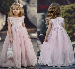 Wholesale Special Occasion Dresses For Kids - Lovely Blush Pink Flower Girl Dresses Special Occasion For Weddings Kids Pageant Gowns A-Line Lace Appliqued First Communion Dress 2017