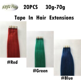 Wholesale Red Remy Tape Extensions - Wholesale Brazilian Straight Hair Tape In Hair Extensions #Red #Green #Blue 20pcs Skin Weft Human Hair Extensions 16-24 inch Free Shipping