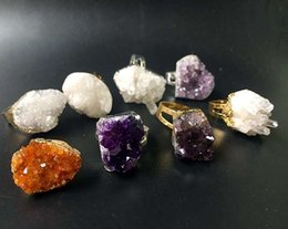 Wholesale White Gold Adjustable Ring - Natural Gemstone Crystal Druzy Cluster Ring, Gold Silver Raw Amethyst Citrine Healing Stone Quartz Rough Glittery Irregular Adjustable Rings