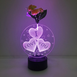 Wholesale Love Heart Lights - 3D Love Heart Illusion Lamp Night Light with Flower DC 5V USB Charging AA Battery Wholesale Dropshipping Free Shipping Retail Box