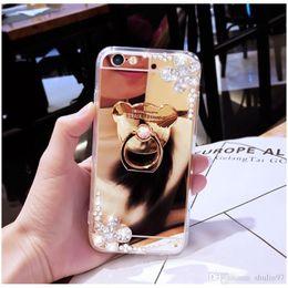 Wholesale Iphone 5s Rhinestone Bling Cases - For iphone 5 5s se 6 6s 7 plus Diamond Rhinestone Mirror Soft Crystal finger ring Bling glitter flower case