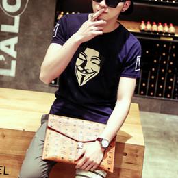 Wholesale Vendetta Clothing - Fall short sleeved T-shirt slim men's T-shirt Cotton Mens Half Sleeve T shirt clothes V for Vendetta trend