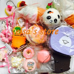 Wholesale Squishies Free Shipping - squishies wholesale 10pcs mixed kawaii rare squishy icecream panda puff donut macaron charm strap for mobile phone kids toys Free Shipping