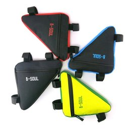 Wholesale Mountain Bike Frame Sizes - 4 Colors Waterproof Triangle Cycling Bicycle Bags B-soul Front Tube Frame Bag Mountain Bike Triangle Pouch Frame Holder Saddle Bag New