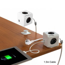 Wholesale Usb Multi Outlet - Allocacoc Extended PowerCube Socket DE Plug 4 Outlets Dual USB Adapter with 1.5m Cable Extension Adapter Multi Switched Socket