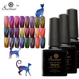 Wholesale Browning Nail Stickers - Wholesale-Saviland 1pcs UV Soak Off Cat Eyes Glitter Chameleon Nail Gel Polish Magnet Effect Sticker need to use Black Base Gel