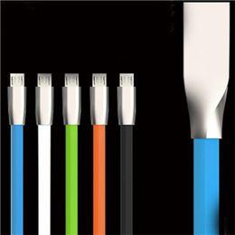 nouilles fil plat Promotion Haute Qualité TPE Aluminium Métal Tête 1 M 3FT Micro Câble USB Pour Android Smartphones Samsung HTC LG Huawei Nouilles Plates Câble de câble de données