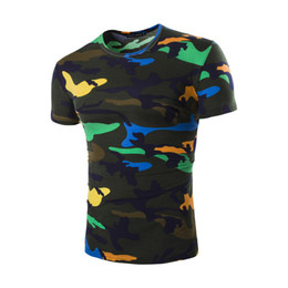 Wholesale Camo T Shirts Wholesale - Wholesale- Camouflage Tee Shirt Men 2017 Summer Cool Design Fitness Hip Hop Casual Cotton Slim Camo Army tShirt Outwear Moletom T Shirt Men