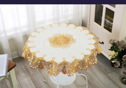 Wholesale Hotel Round Table - Wholesale- YJ-2757# Golden Diameter 70cm Round PVC Mat table cover cloth for hotel dining cushion Place mats Anti-skidding