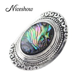 Wholesale Tibetan Stone Jewelry - Vintage Accessories Tibetan Jewelry Antique Silver Colorful Pattern Big Geometric Party Finger Rings For Women Fashion Jewelry