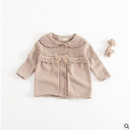 Wholesale Toddler Girls Down Coat - Baby coats New baby girls lapel single-breasted Cardigan outwear toddler kids bows long sleeve cotton coats 2017 girls clothes G048