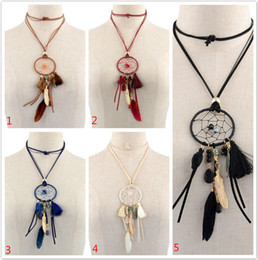 Wholesale Silver Dream Catcher - Retro Dreamcatcher Necklace With Feathers And Tassel Hand-Woven Dream Catcher Bears Tassel Long Sweater Chain Necklace