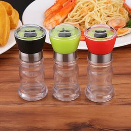 Wholesale Spice Tools - 130mm Acrylic Manual Pepper Grinder Salt Spices Mill Shaker Transparent Grinding Tool Milling Cutter Machine Kitchen Accessories