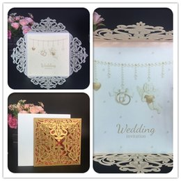Wholesale Envelope Wedding Card - Cheap laser cut Gold Silver wedding invitations cards hollow personalized Engagement invitation cards with insert & envelope free shipping