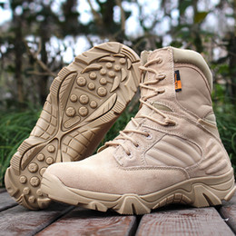 Wholesale high top leather military boots - Men Military Boots Vintage Lace Up Front Men Tactical Boots Solid High Top Boots Men Size 39-44 New Botas