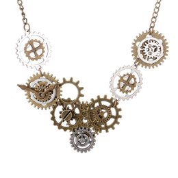 Wholesale Diy Steampunk - Wholesale- 2016 Newest Various Gears Combined DIY Steampunk Necklace Vintage Bronze Ox And Antique Silver Mixed
