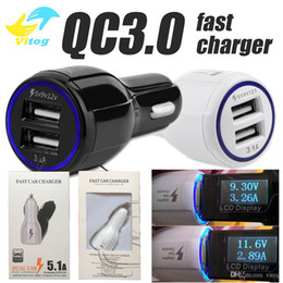 Wholesale Blackberry Chargers Uk - High Quality 9V 2A 12V 1.2A QC3.0 fast car charge 3.1A Dual USB Fast Charging phone charger Samsung Galaxy S8 with package