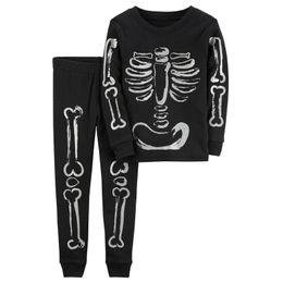 Wholesale Skull Long Pants Kid - Kids skeleton printing outfits 2pc set long sleeve T shirt+pants Boys Holloween homewear for 1-6T Skull clothing