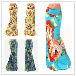 Wholesale High Waisted Long Skirts - Newest Women high waisted Long Skirt Beach Skirt European Style Bohemia Printed Slim Package Hip Long Skirts
