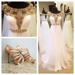 Wholesale Sparkle Sleeve Short Prom Dress - Elegant Prom Dress Long 2017 Gold Beaded White Chiffon Handmade Party Gowns Modest Sparkle Special Occasion Dresses Evening Wear