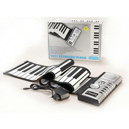 Wholesale Rolling Piano Keyboard - 61 Keys Flexible Synthesizer Hand Roll up Roll-Up Portable USB Soft Keyboard Piano MIDI Build in Speaker Electronic Piano