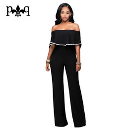 Wholesale Casual Strapless Black Jumpsuit - Wholesale- Summer Black Jumpsuit Women Strapless Off Shoulder Sexy Ruffles Rompers Casual Long Pants Back Zipper Rompers Womens Jumpsuit