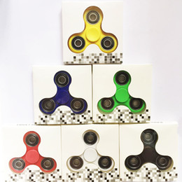 Wholesale Abs Cnc - Triangle Hand Spinner toy Fidget Spinner ABS CNC 6 Colors Torqbar Bearing axis EDC Finger Tip Rotation anxiety HandSpinner DHL