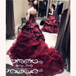 Wholesale Gothic Long Skirts Women - Vintage Burgundy Long Gothic Wedding Dresses Draped 2017 Tiered A Line Skirt Appliques and Beads Women Bridal Dress Formal Gowns