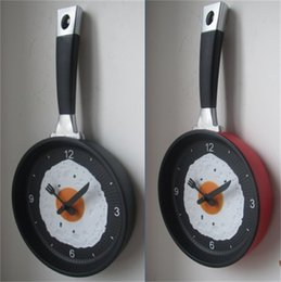 Wholesale Time Clock Decoration - Wholesale-Lovely Design Fried Pan Clock Plastic Kitchen Wall Clock for Home Decoration Quartz Time Clocks Horloge Murale