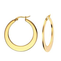 Wholesale big trendy earrings - Big Circle Classic Hoop Earrings Gold Plated For Women Party Jewelry Trendy Round Earrings Ronda Grande Pendientes EH-168