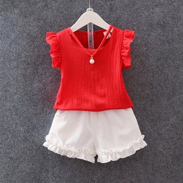 Wholesale Necklace Shirt Girls - Baby girls chiffon suits 2017 summer pearl necklace shirt+white shorts 2pcs sets korean style kid clothing outfit
