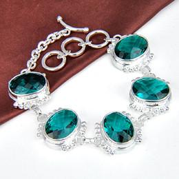 Wholesale Topaz Sterling 925 Silver Bracelet - 925 silver green topaz square Handmade Silver crystal Bracelet B0915