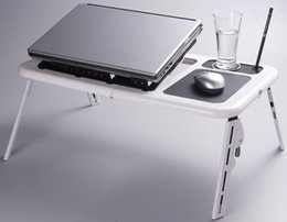 Wholesale Laptop Cool Tablet - E-Table H34 Foldable Laptop Tray Desk W Cooling Fan Tablet Desk Bed Sofa Couch