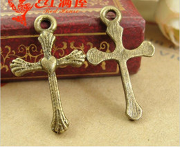 Wholesale Metal Antique Bronze Cross Charms - 25*15MM Retro Love Cross charms crucifix religious items mobile accessories wholesale, antique bronze zinc alloy metal pendant