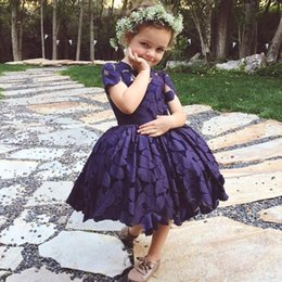 Wholesale Toddler Lace Navy Dresses - Navy Blue Lovely Girls Pageant Dresses Ball Gowns 2017 Newest Short Sleeve Knee-Length Lace Jewel Kids First Communion Gowns Custom Made