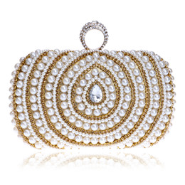 Wholesale Ivory Pearl Wedding Handbag - Wholesale- Beaded Lady Handbags Finger Ring Diamonds Purse Evening Bags Crystal Luxurious Pearl Wedding Bags For Party Dinner