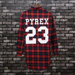 Wholesale Pyrex Kanye - Wholesale- Kanye West PYREX VISION 23 Long Sleeve Shepherd's plaid leisure shirt Hip Hop Style High Quality Print Cotton Street Wear