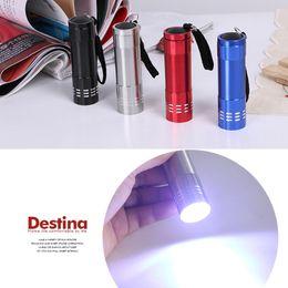 Wholesale Led Flashlight Wholesale - Aluminum Alloy Portable UV Flashlight Light 9 LED 30LM Torch Light Lamp Mini Flashlight 4 Color MINI LED Flashlights 3004022