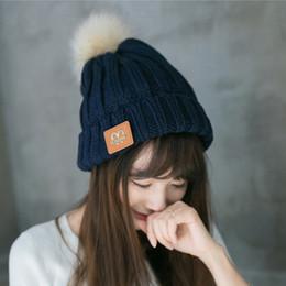 Wholesale Mink Fur Hats Women - 7Colors Mink and Fox Fur Fashion Women Hats M Trendy Winter Knitted Fur Poms Beanie Label Luxury Cable Caps Leisure Beanie Outdoor Hats