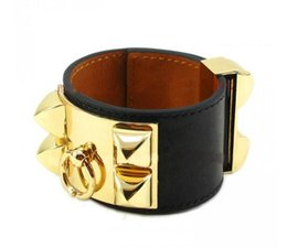 Wholesale H Bracelets Bangles - 2017 Cheap wholesale H plain leather, four nails, rivets, leather bracelets, exaggerated punk, wide face Bracelets