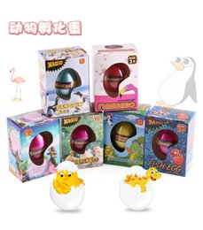 Wholesale Toy Hatches Water - 2017 New Children's Funny Toy Box Large Dinosaur Eggs Children Education Toys Water Expansion 7 styles animal Hatching Egg animal kids toy