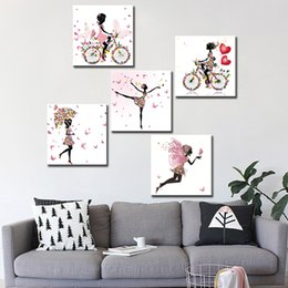 Wholesale Dancing Pictured Canvas - Canvas Painting Dancing Girl Butterfly Wall Poster Canvas Art HD Modular Pictures for Room Decoration Home Decor 3 Pieces Unframed