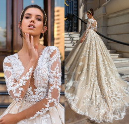 Wholesale T Shirt Black Lace Floral - Long Sleeve Lace Ball Gown Wedding Dresses 2017 robe de mariage Applique vestido de noiva de renda Luxury Bridal Gowns