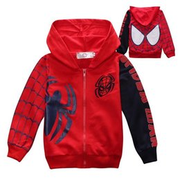 Wholesale Hood Sweater Boys - T+he spider man New Kids Childrens Boys Zip Hooded long sleeved sweater coat 3-7 size 110-140 code